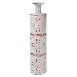 Jeco White/Copper Metal 34.5-inch Vase