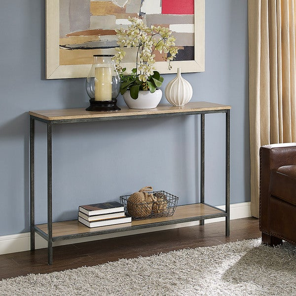 crosley furniture brooke washed oak console table
