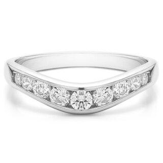 10K Gold Graduated Classic Style Contour Band mounted with White Sapphire (0.42 Cts. twt)