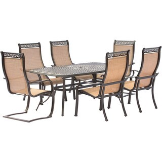 Hanover Manor 7-Piece Dining Set with Four Dining Chairs, Two C-Spring Chairs, and a 72 x 38 In. Cas