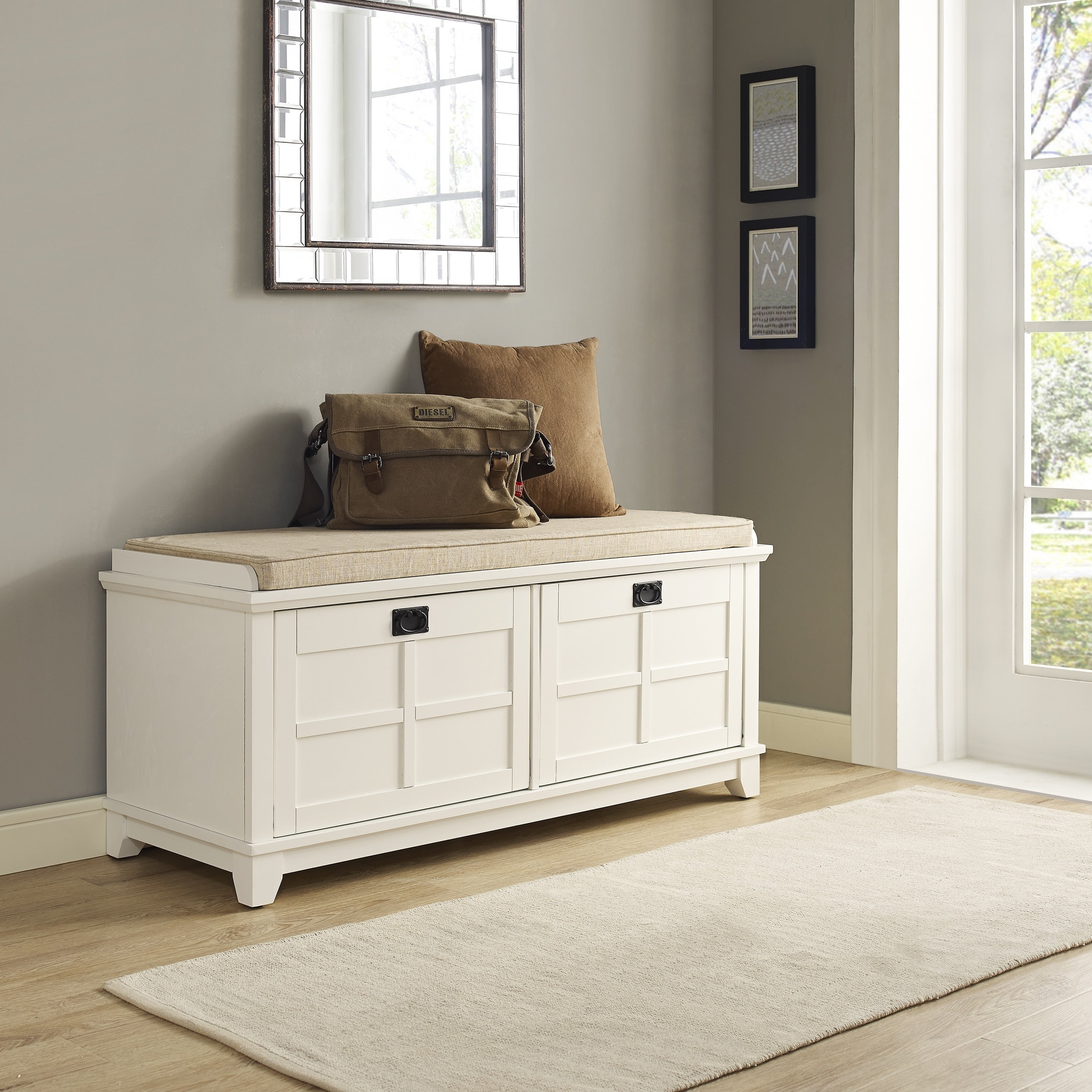 Picture of: Adler White Entryway Bench Overstock 15964158