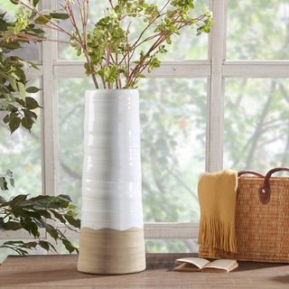 INK+IVY Lima White/ Sand Handmade Terracotta Vase - Large