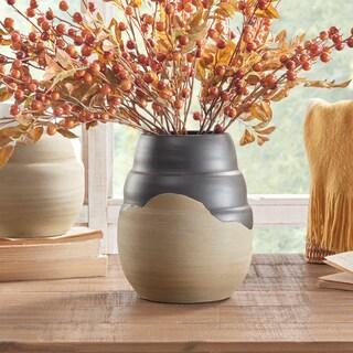 INK+IVY Lima Black/ Sand Handmade Terracotta Vase - Black