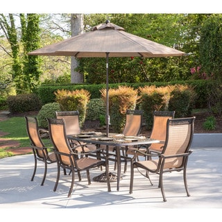 Hanover Manor 7-Piece Dining Set with Six Dining Chairs, a 72 x 38 In. Cast-top Dining Table, 9 Ft.