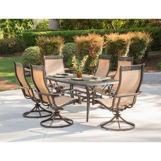 Hanover Manor Tan Aluminum 7-piece Outdoor Dining Set with 6 Swivel Rockers and a Large Cast-top Dining Table