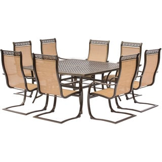 Hanover Manor 9-Piece Outdoor Dining Set with Large Square Table and 8 C-Spring Chairs