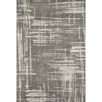 Microfiber Woven Grey/ Taupe Modern Abstract Rug - 9'3 x 13'
