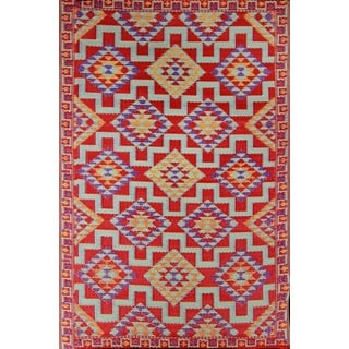 Red Kilim Indoor/Outdoor Reversible Southwestern Area Rug (4' x 6')