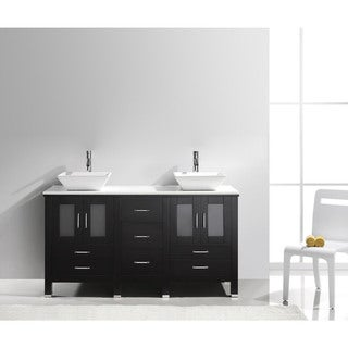 Virtu USA Bradford 60-inch Stone Double Bathroom Vanity Set No Mirror (3 options available)