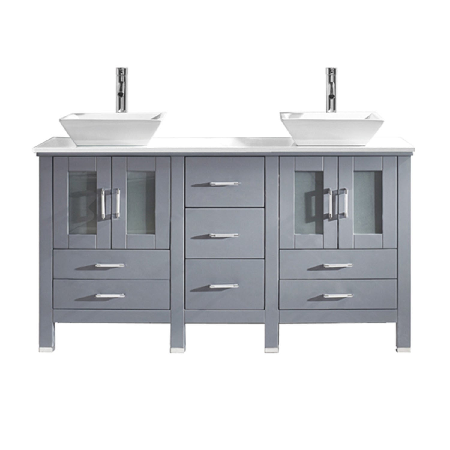 Virtu USA Bradford 60-inch Stone Double Bathroom Vanity Set No ...