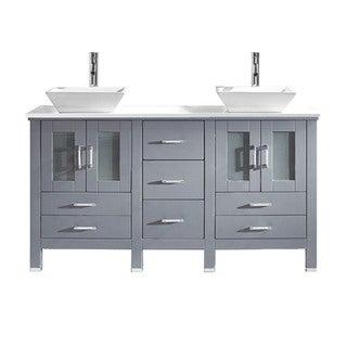 Virtu USA Bradford 60-inch Stone Double Bathroom Vanity Set No Mirror (Floor Cabinet - Grey)