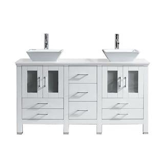 Virtu USA Bradford 60-inch Stone Double Bathroom Vanity Set No Mirror (Floor Cabinet - White)