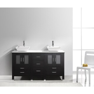 Virtu USA Bradford 60-inch Stone Double Bathroom Vanity Set No Mirror