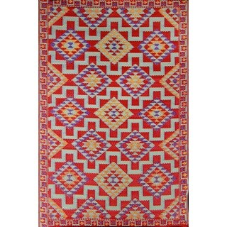 Red Kilim Indoor/ Outdoor Reversible Southwestern Area Rug (6' x 9')