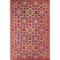 Red Kilim Indoor/ Outdoor Reversible Southwestern Area Rug - 6' x 9'