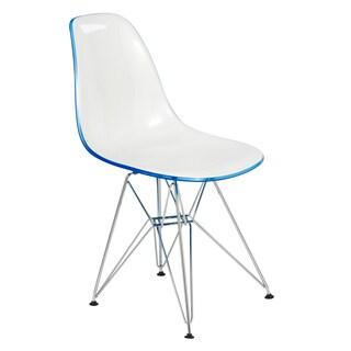 LeisureMod Delmar Eiffel Clear Molded 2-tone Side Chair