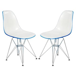Link to LeisureMod Delmar Eiffel Base 2-tone White Blue Dining Chair Set of 2 Similar Items in Dining Room & Bar Furniture