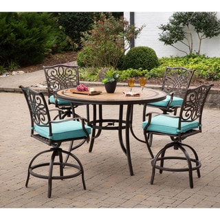 Monaco 5-Piece High-Dining Set in Blue with 4 Swivel Chairs and a 56 In. Tile-top Table