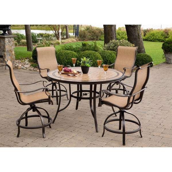 Monaco 5 Piece High Dining Set With 56 In. Tile Top Table