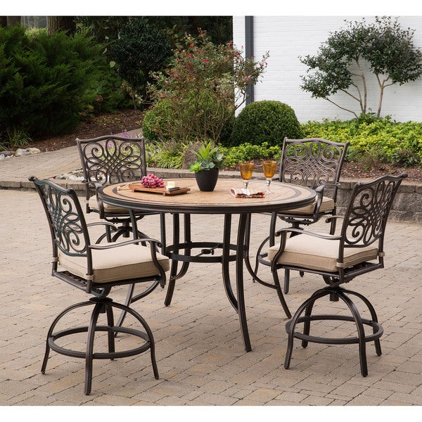 Monaco 5-Piece High-Dining Set in Tan with 6 Swivel Chairs and a 56 In. Tile-top Table