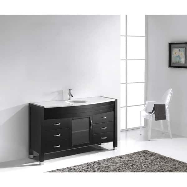 Ava 55 In Single Bathroom Vanity Set With Overstock 15964464 Man Made Stone No Mirror Dark Espresso Finish Polished Chrome Faucet