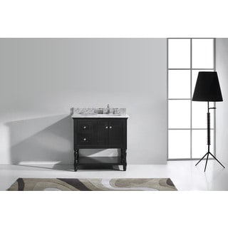 Virtu USA Julianna 36-inch Square White Marble Single Bathroom Vanity Set without Mirror