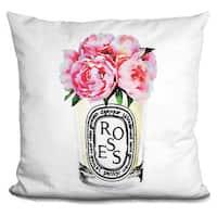 Amanda Greenwood 'Candle Flowers Pink Roses, Throw Pillow