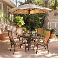 Hanover Monaco 5-Piece Dining Set with 9 Ft. Table Umbrella and Base