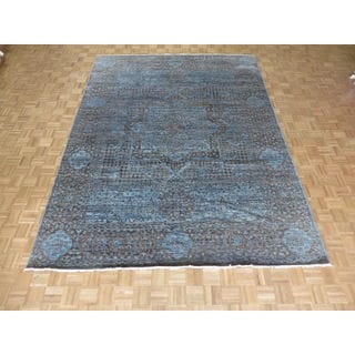 Hand Knotted Sky Blue Mamluk with Wool Oriental Rug (9'2 x 12'3)