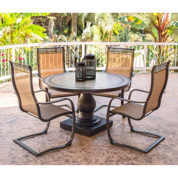 Hanover Monaco Golden Bronze Aluminum 5-piece Outdoor Dining Set with C-spring Chairs and Tile-top Dining Table