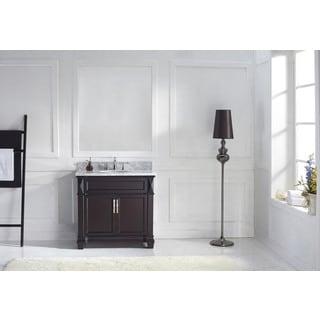 Virtu USA Victoria 36-inch Italian Carrara White Marble Single Bathroom Vanity Set with No Mirror