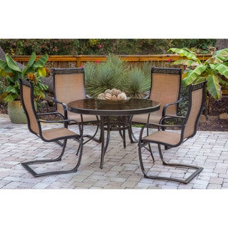 Hanover Monaco 5-Piece Outdoor Dining Set with C-Spring Chairs and Glass-top Dining Table