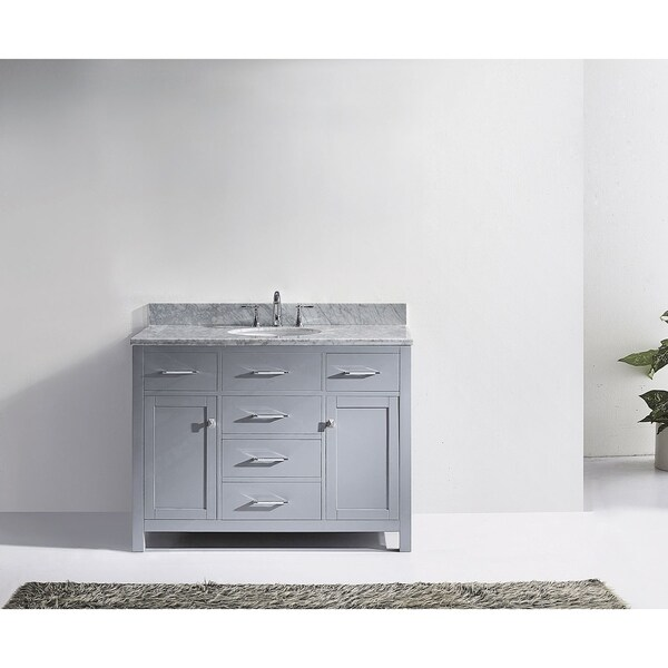 vanity set without mirror. Virtu USA Caroline 48 inch Carrara White Marble Single Bathroom Vanity Set  without Mirror