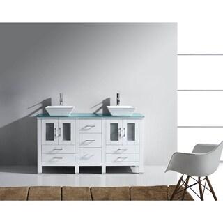 Virtu USA Bradford 60-inch Glass Top Double Vanity Set No Mirror