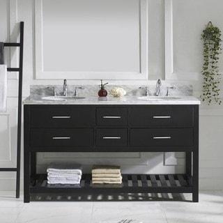 Virtu USA Caroline Estate 60-inch Round Double Bathroom Vanity Set with No Mirror