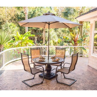 Hanover Monaco 5-Piece Outdoor Dining Set with C-Spring Chairs, Tile-top Dining Table, and a 9 Ft. Table Umbrella