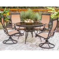 Hanover Monaco Tan Aluminum 5-Piece Dining Set with Swivel Sling Chairs and Glass-top Dining Table