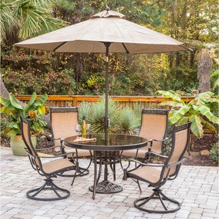 Hanover Monaco 5-Piece Dining Set with Swivel Sling Chairs, Glass-top Dining Table, 9 Ft. Table Umbrella, and Umbrella Stand