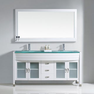 Virtu USA Ava 63-inch Tempered Glass Double Bathroom Vanity Set with No Mirror (3 options available)