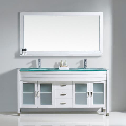 Virtu USA Ava 63-inch Tempered Glass Double Bathroom Vanity Set with No Mirror