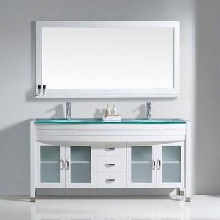 Virtu USA Ava 63-inch Tempered Glass Double Bathroom Vanity Set with No Mirror