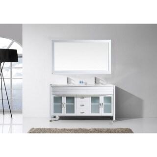 Virtu USA Ava 63-inch White Stone Double Bathroom Vanity Set with No Mirror
