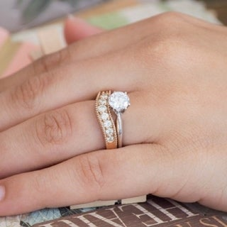 10k Gold Vintage Style Contour Wedding Ring mounted with Forever Brilliant Moissanite (0.31 Cts. twt)