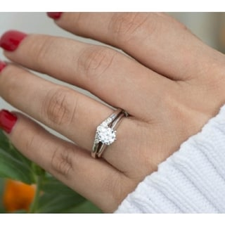 Sterling Silver Perfectly Contoured Wedding Ring mounted with Forever Brilliant Moissanite (0.18 Cts. twt)