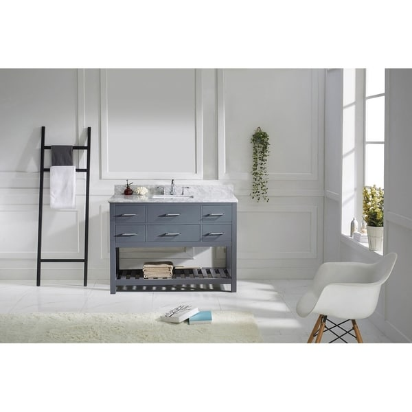 Virtu USA Caroline Estate 48-inch Italian Carrara White Marble Single Bathroom Vanity Set without Mirror