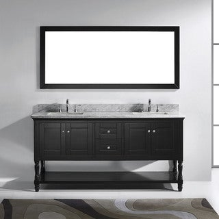 Julianna 72-inch Square White Marble Double Bathroom Vanity No Mirror