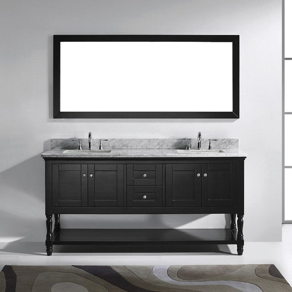 Great Virtu USA Julianna 72 Inch Square White Marble Double Bathroom Vanity Set  Without Mirror