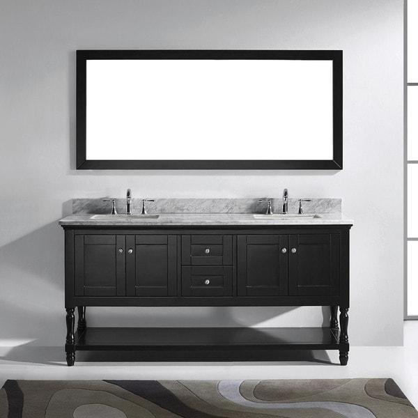 Julianna 72-inch Square White Marble Double Bathroom Vanity No Mirror