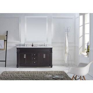 Virtu USA Victoria 60-inch Italian Carrara White Marble Round Double Bathroom Vanity Set with No Mirror