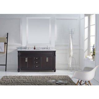 Virtu USA Victoria 60-inch Italian Carrara White Marble Round Double Bathroom Vanity Set with No Mirror
